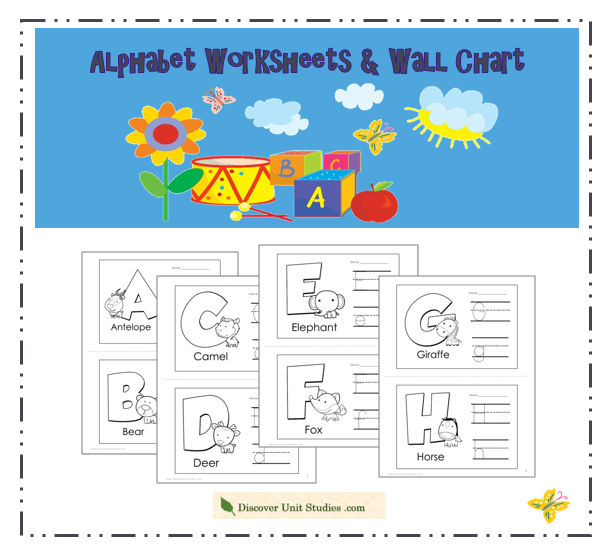 Free Printables Discover Unit Studies. Alphabet Worksheets Wall Chart Prekk. Worksheet. New Year Worksheets For Pre K At Mspartners.co